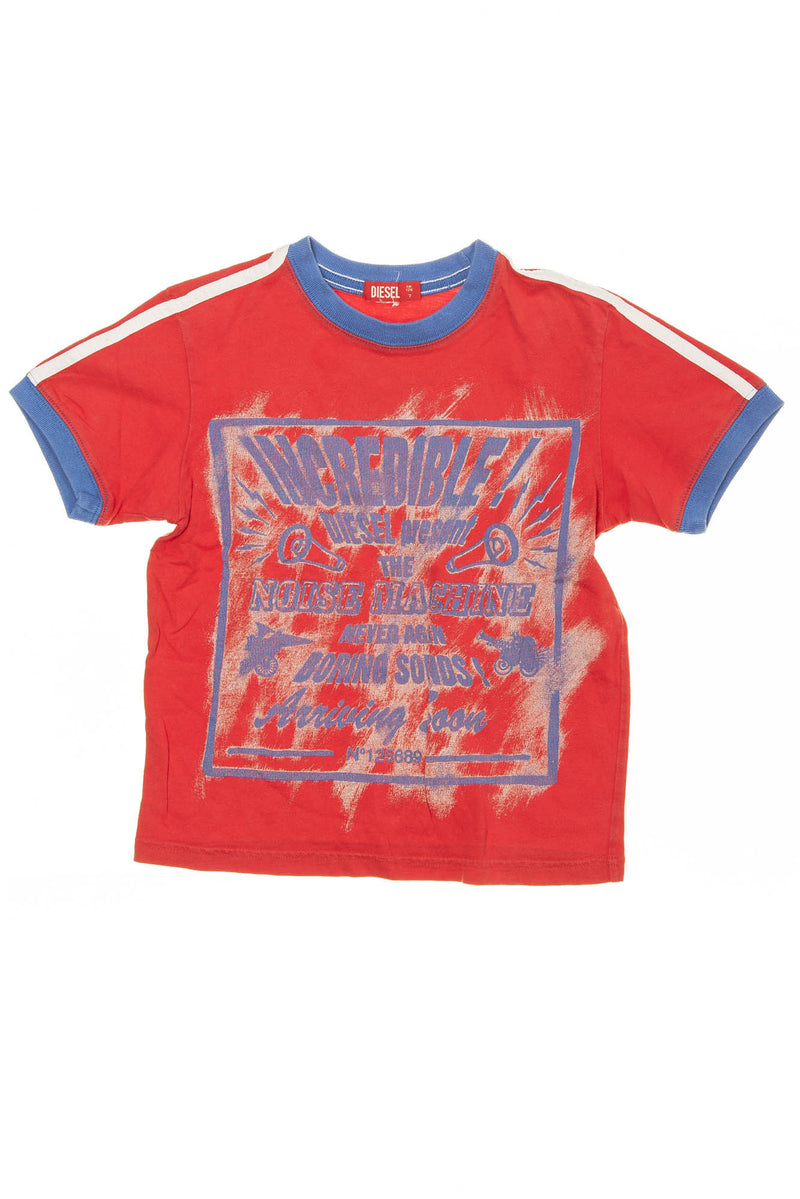 Diesel - Red Short Sleeve Shirt with Blue Trim - 7