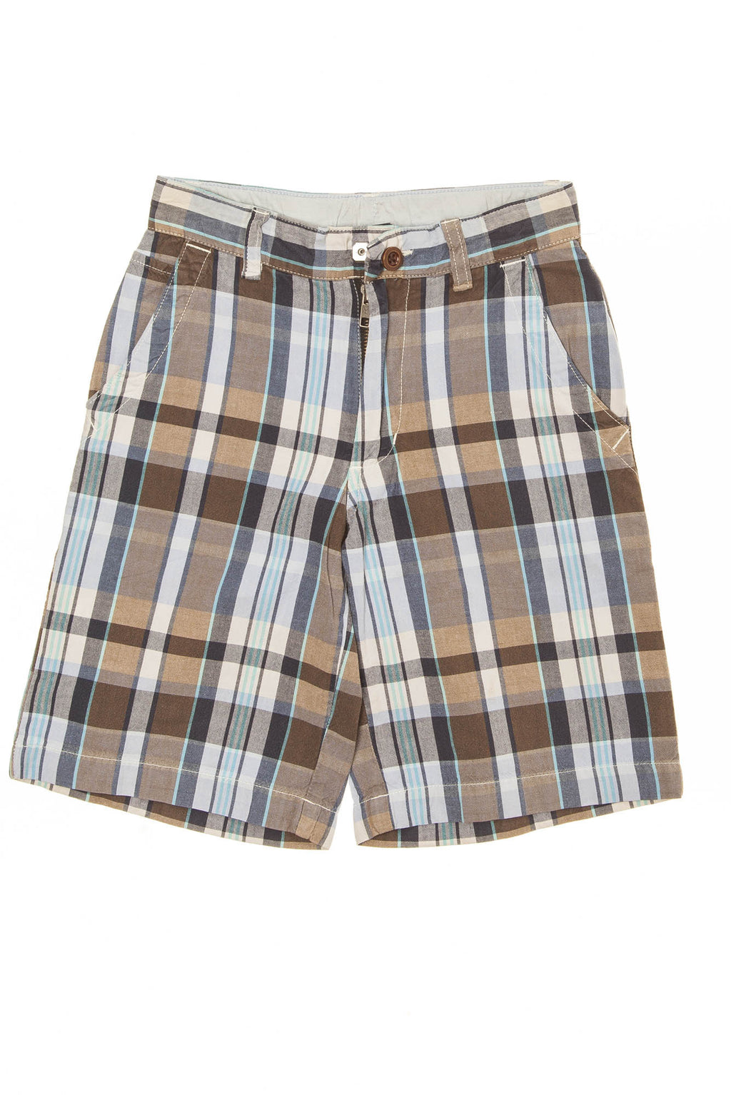 GapKids - Light Brown and Blue Plaid Shorts - 8 Slim