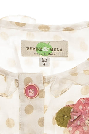 Verde & Mela - White and Brown Polka Dot Tank Top Button Up Shirt - 4