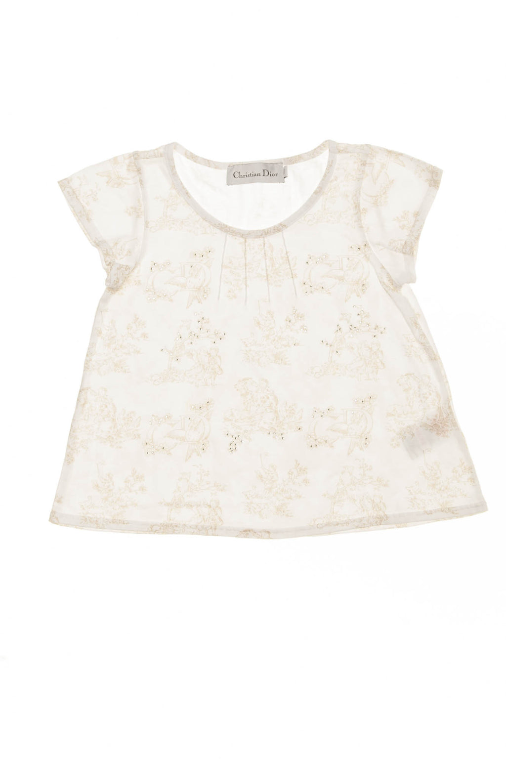 Christian Dior - White Short Sleeve Top with Flowers -