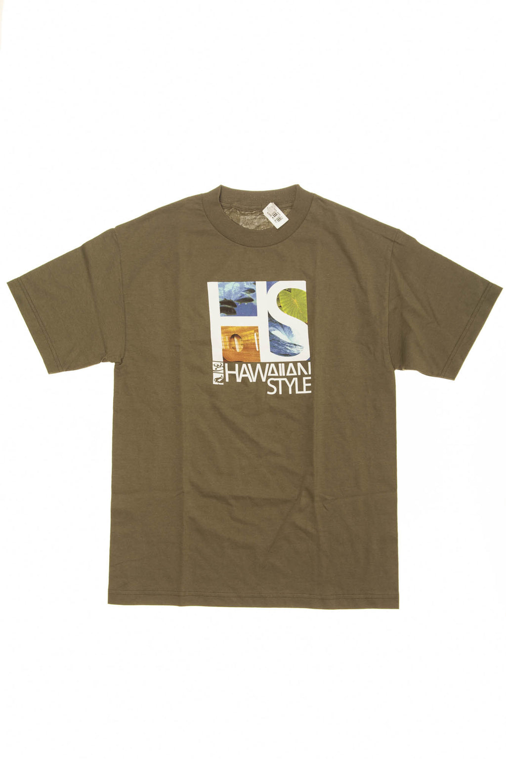 Hawaiian Style - Olive Green Short Sleeve Graphic T Shirt