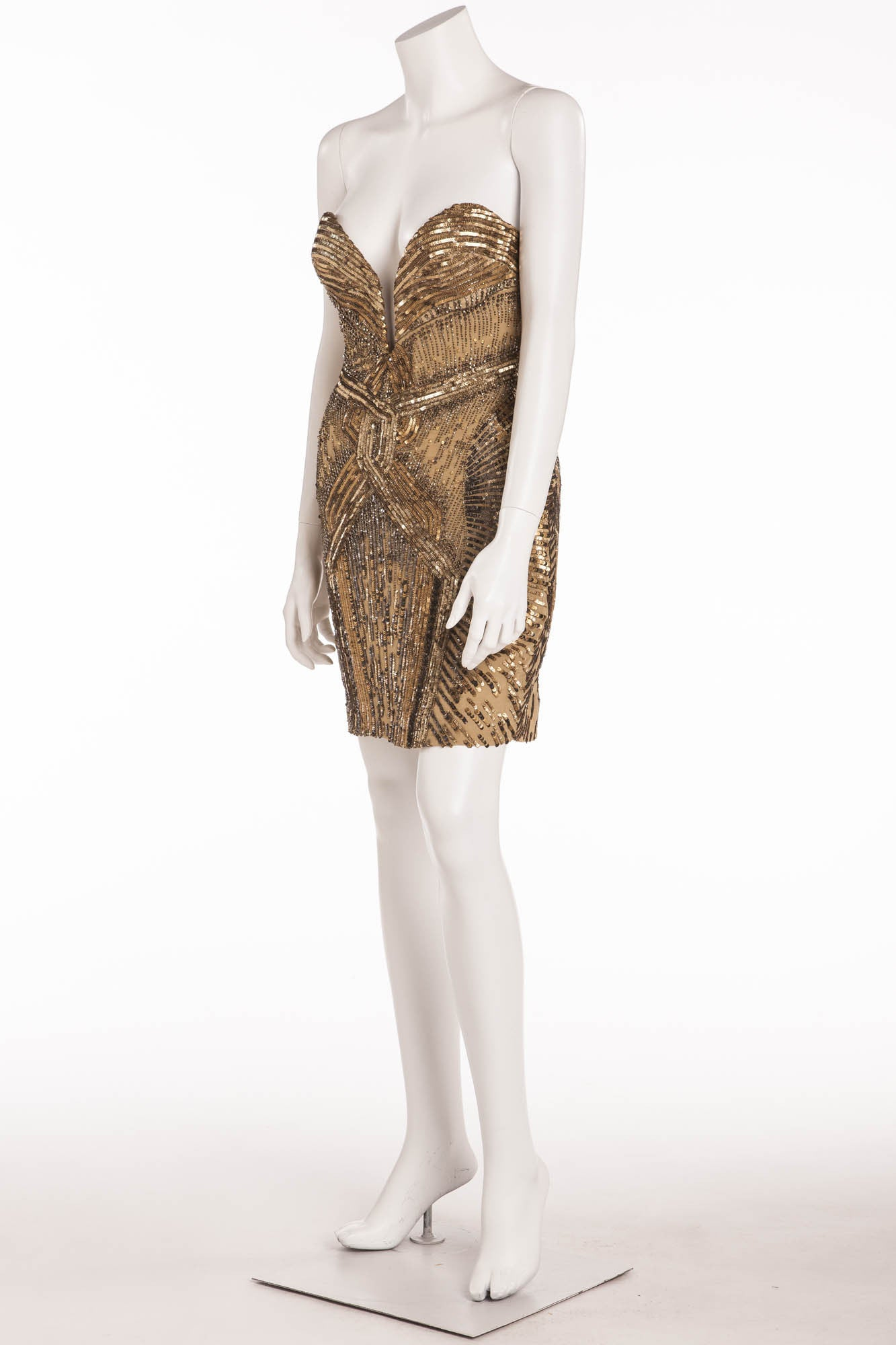 b2ab5fedaedf Roberto Cavalli - Gold Strapless Embellished Mini Dress - – LUXHAVE