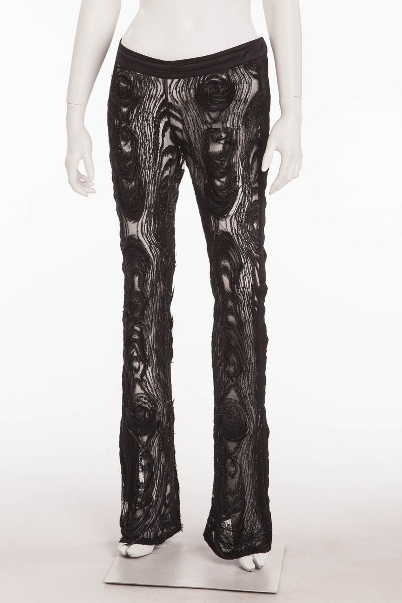 Iconic Tom Ford for Gucci - Collectible Black See Through  Peacock Feather  Embellished Flare Pants - IT 42