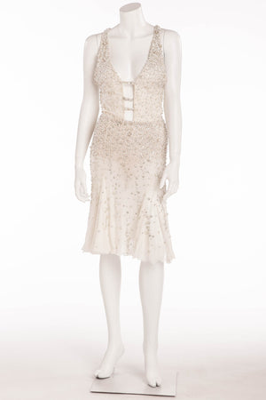 Versace - As Seen on Christina Aguilera - White Cocktail Dress Embellished with Rhinestones - IT 42