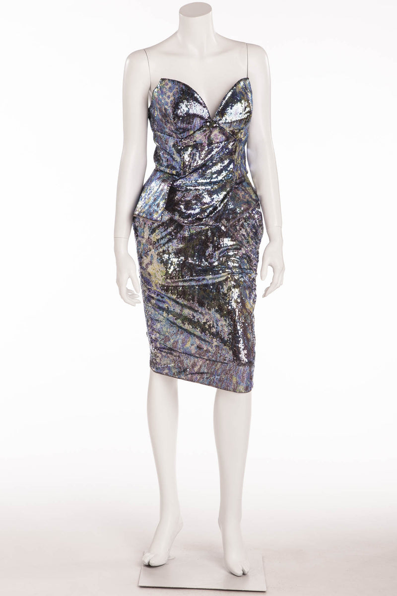 VIvienne Westwood - 2PC Purple, Blue, Silver Corset & Pencil Skirt - IT 40