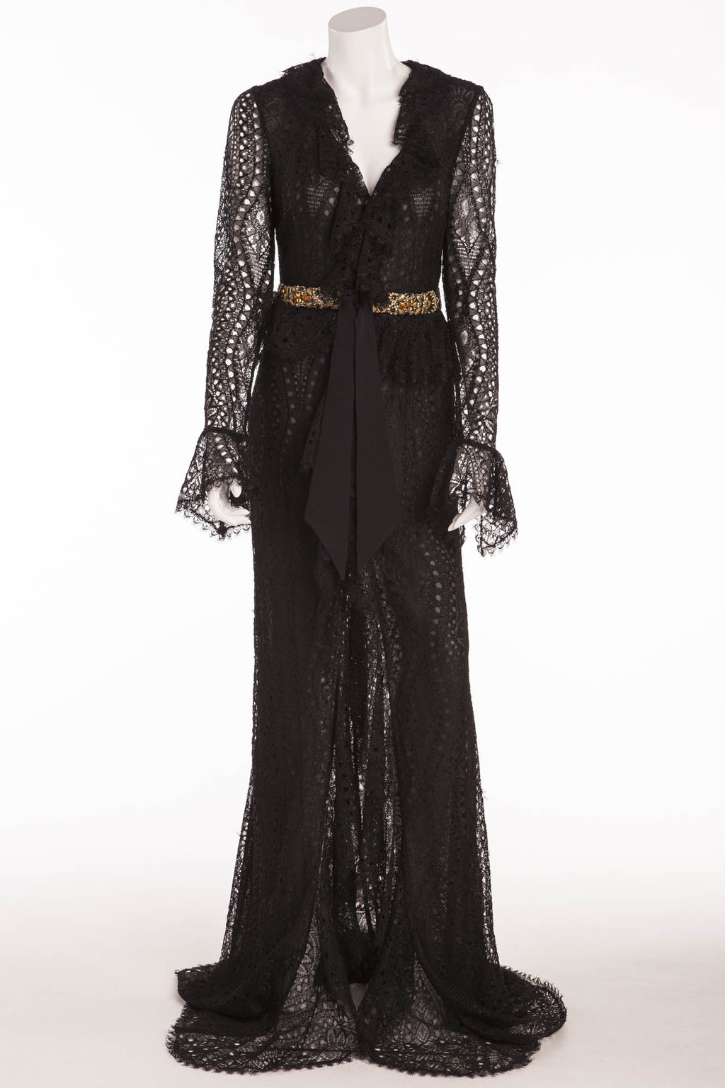 Emilio Pucci - Long Sleeve Black Lace Dress with Gold Beaded Belt - IT 42