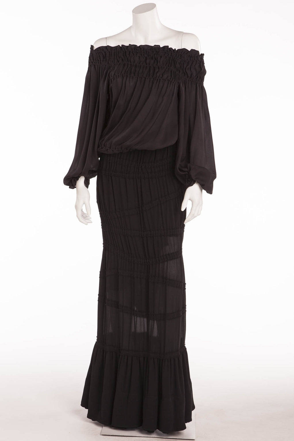Tom Ford for Yves Saint Laurent - 2PC Black Chiffon Long Sleeve Top & Skirt with Leather Belt - FR 38