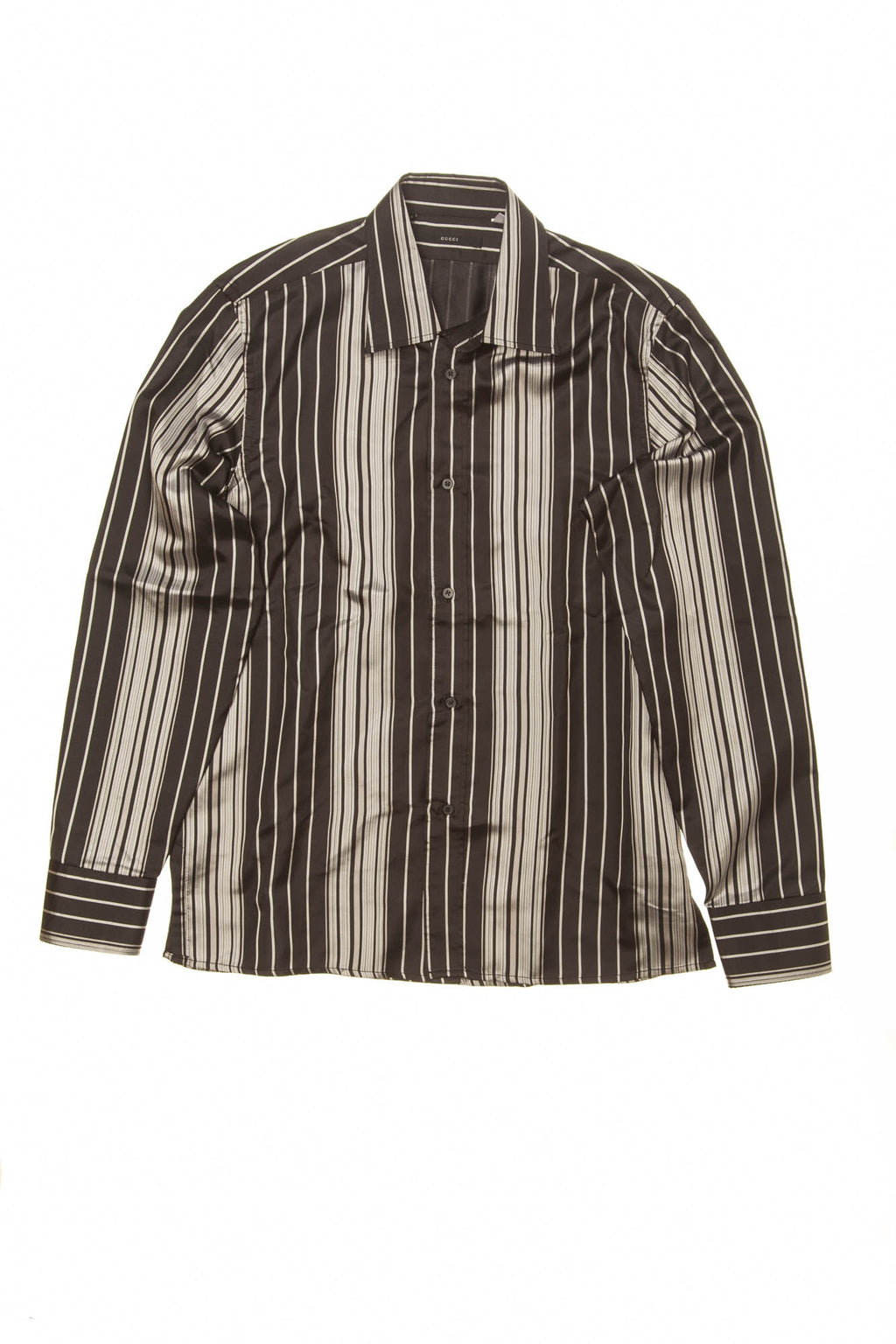 Gucci - Black and Silver Striped Button Down - 16 1/2