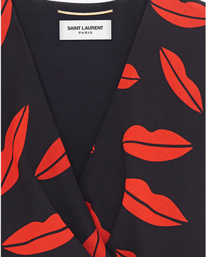 Saint Laurent - Red  Lip Print  Silk Georgette Dress FR 40