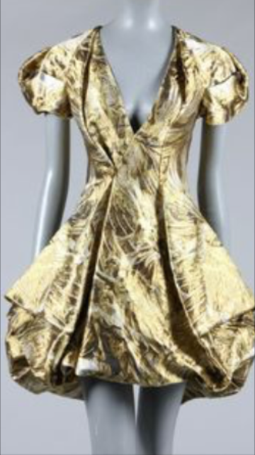 Original Alexander McQueen - Short Sleeve Gold and Silver Brocaded Evening Dress - IT 42