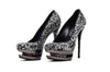"Gianmarco Lorenzi Black Label - As Seen on Nicki Minaj and Miranda Lambert - IT 39 Black and Clear Swarovski Rhinestone ""Discoball"" Pumps - IT 39"