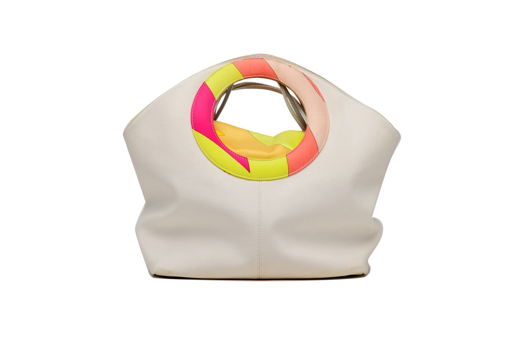 Emilio Pucci - White Canvas Bag with Colorful Handle with Second Removable Bag - One Size