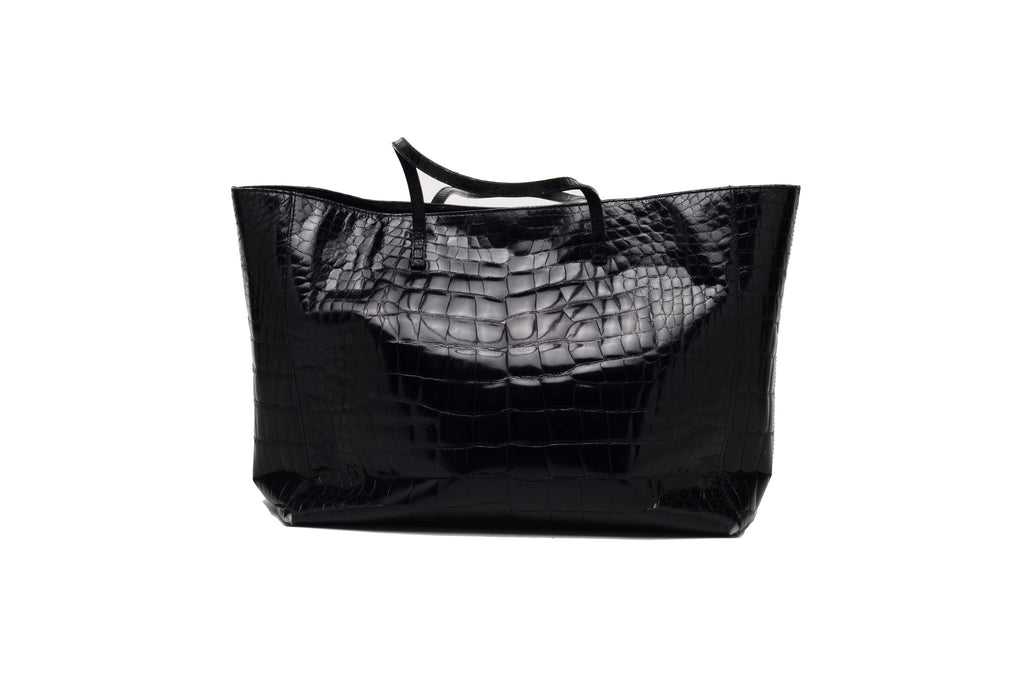 Fendi - Large Black Patent Alligator Bag