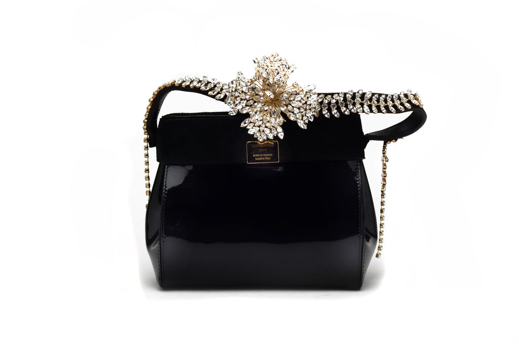 Dsquared2 - As Seen on the 2012 Runway Collection, Look 14 - Rare Collectible Black Patent Handbag with Crystals - One Size