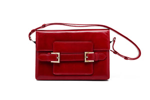 Fendi - Red Clutch with Strap and Silver Buckles -