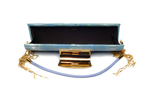 Sergio Rossi - Baby Blue Clutch with Gold Clasp NWT -
