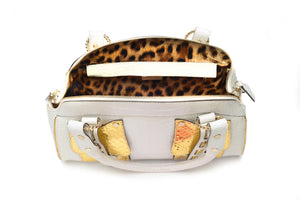 Roberto Cavalli  - White and Gold Leather Bag with Handles