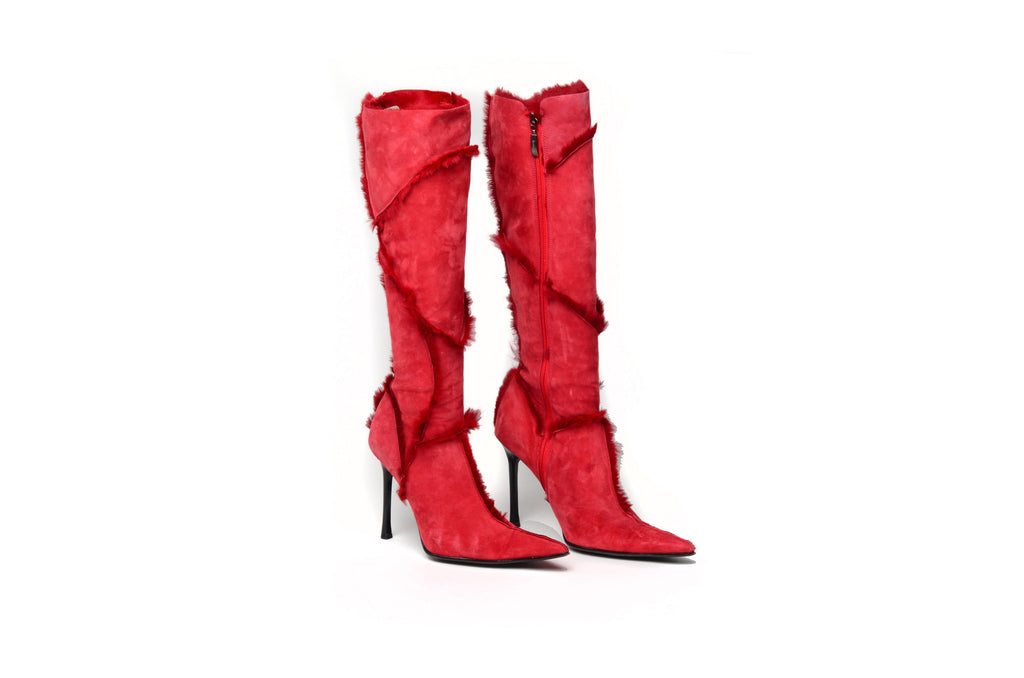 Cesare Paciotti - Red Suede Knee High Boots with Fur Trim  - IT 38
