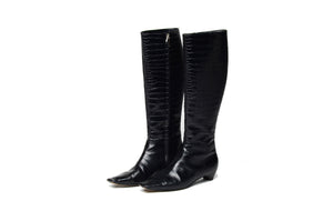 John Galliano for Christian Dior - Black Alligator Embossed Knee High Boots - IT 38 1/2