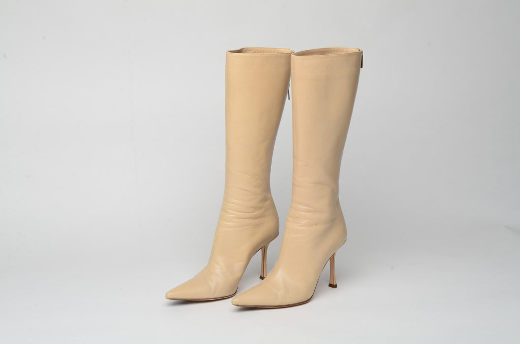 Jimmy Choo - Cream Leather Boots - IT 38 1/2