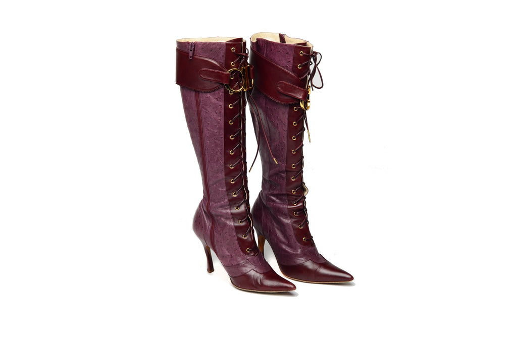 Christian Dior - Burgundy Ostrich Lace Up Boots - IT 38 1/2