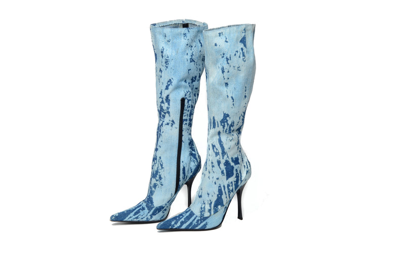 Roberto Cavalli - Vintage Denim Knee High Boots - IT 38 1/2