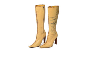Roberto Cavalli - Beige Knee High Boot with Roses - IT 38