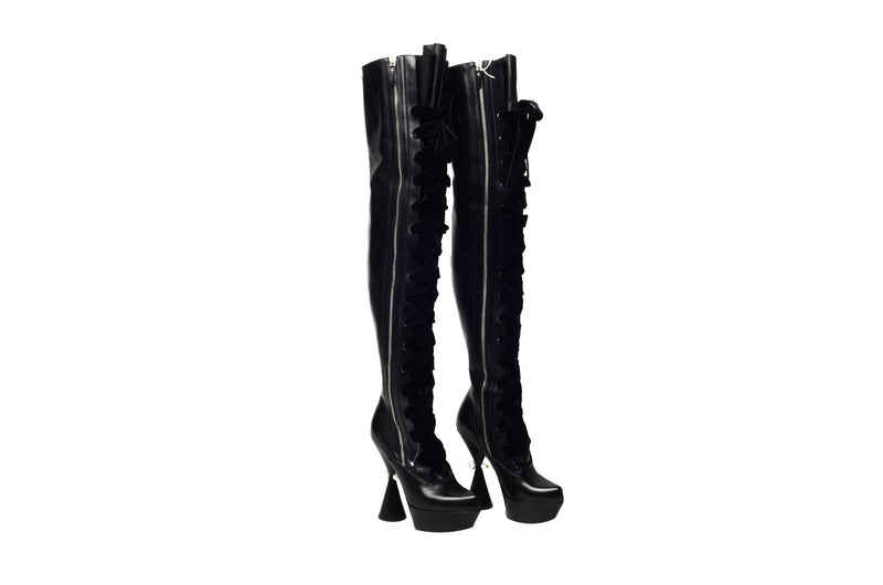 Louis Vuitton - Editorial, Brand New Iconic Cancan Thigh High Black Boots in Box - IT 38