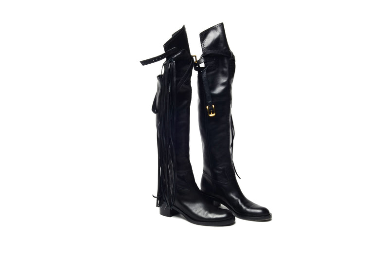 "Gucci  - Black Knee High ""Devendra"" Boots with Fringe (As Seen on Rihanna)  - IT 38"