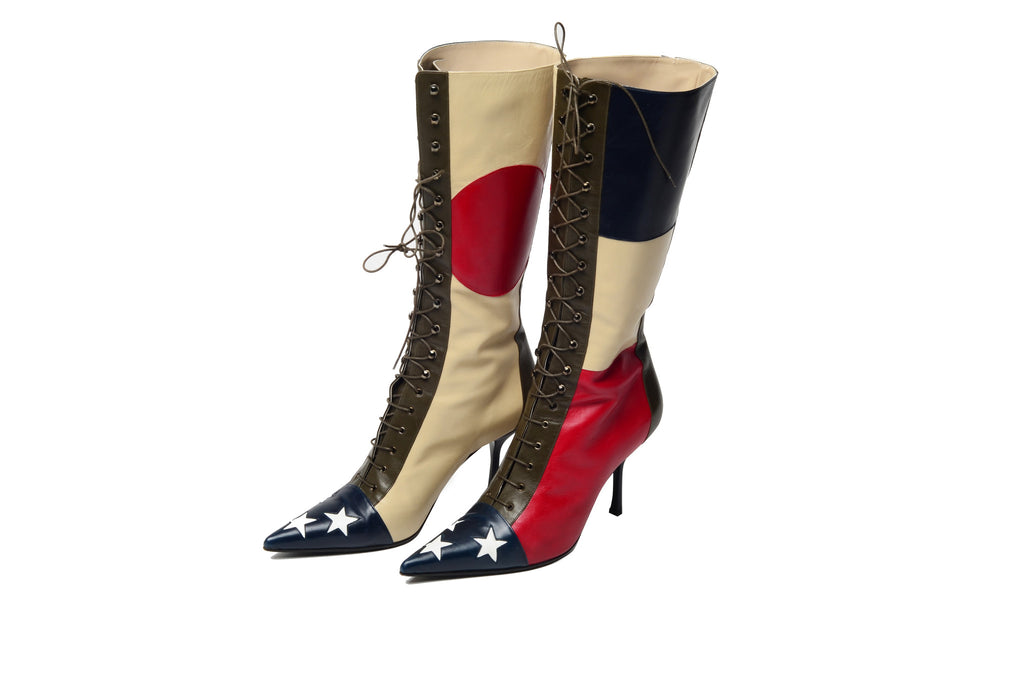 Moschino - Red, White and Blue Star Lace Up Boots - IT 37 1/2