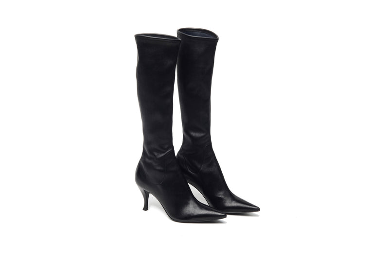 Sergio Rossi - Black Leather Pointed Toe Knee High Boots - IT 38