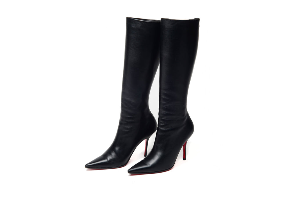 Christian Louboutin - Black Pointed Toe Knee High Boots - IT 38 1/2
