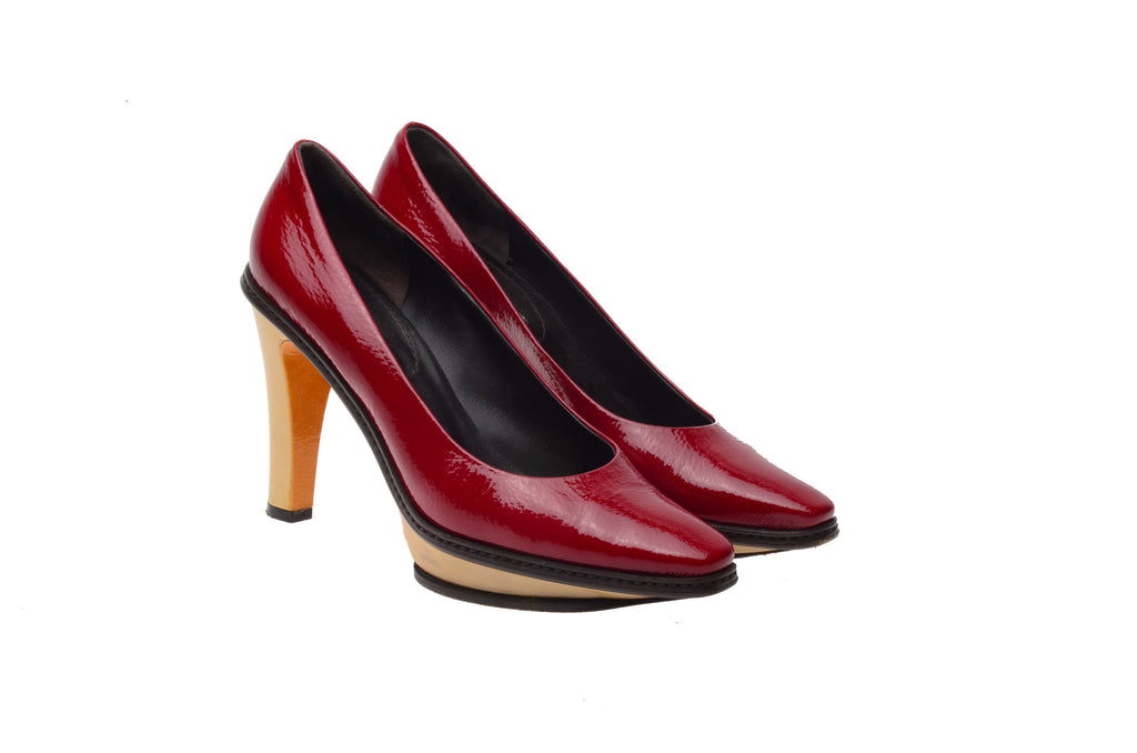Celine - Red Patent Leather Heels with Beige Platform  - IT 38