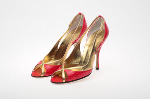 Dolce & Gabbana - Red Snake Skin Gold Strap Peep Toe Heels - IT 38