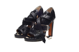 Jean Paul Gaultier - Black Heels with Flower Pattern & Straps - IT 38