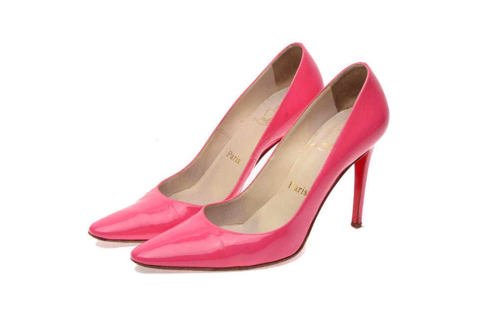 Christian Louboutin - Pink Patent Pointed Toe Heels - IT 38 1/2