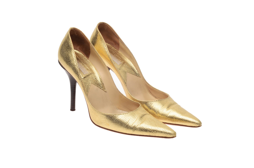 Michael Kors - Gold Lizard Point Toe Heels - US 8