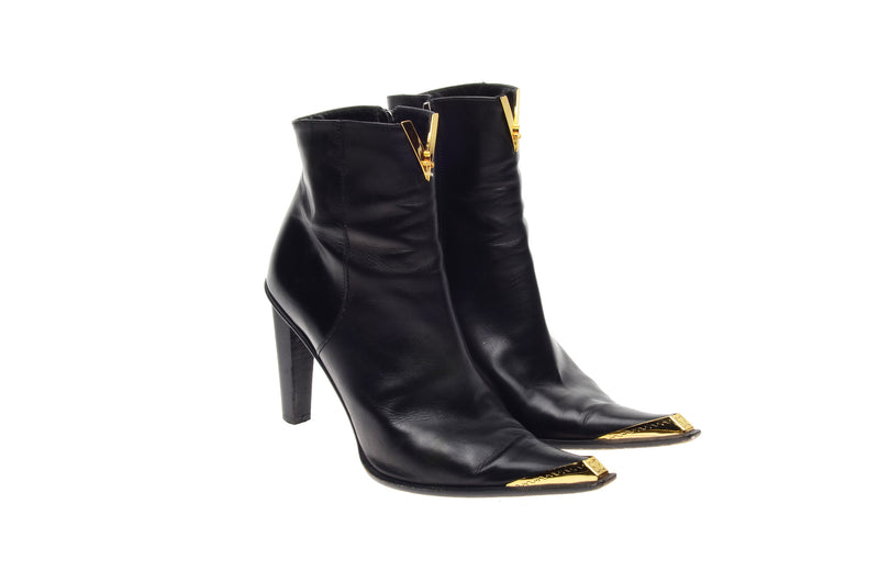 Cesare Paciotti - Black Ankle Boots with Gold Trim - IT 38 1/2