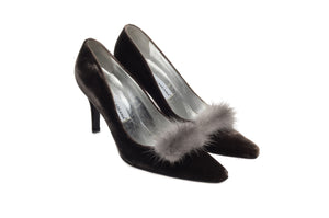 Dolce & Gabbana - Dark Gray Velvet with Mink Fur Trim Heels - IT 37 1/2