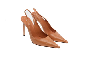 Sergio Rossi - Camel Point Toe Sling Back Heels - IT 39
