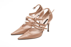 Sergio Rossi - Nude Strap Pointed Toe Heels - IT 38 1/2