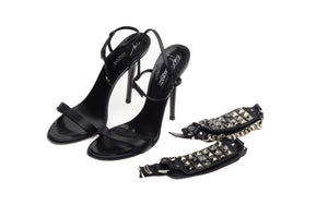 Balmain - Strappy Black Sandals with Detachable Ankle Cuffs - IT 38 1/2