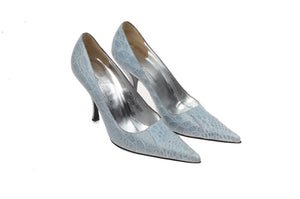 Dolce & Gabbana - Light Blue Crocodile Pointed Toe Heels - IT 39