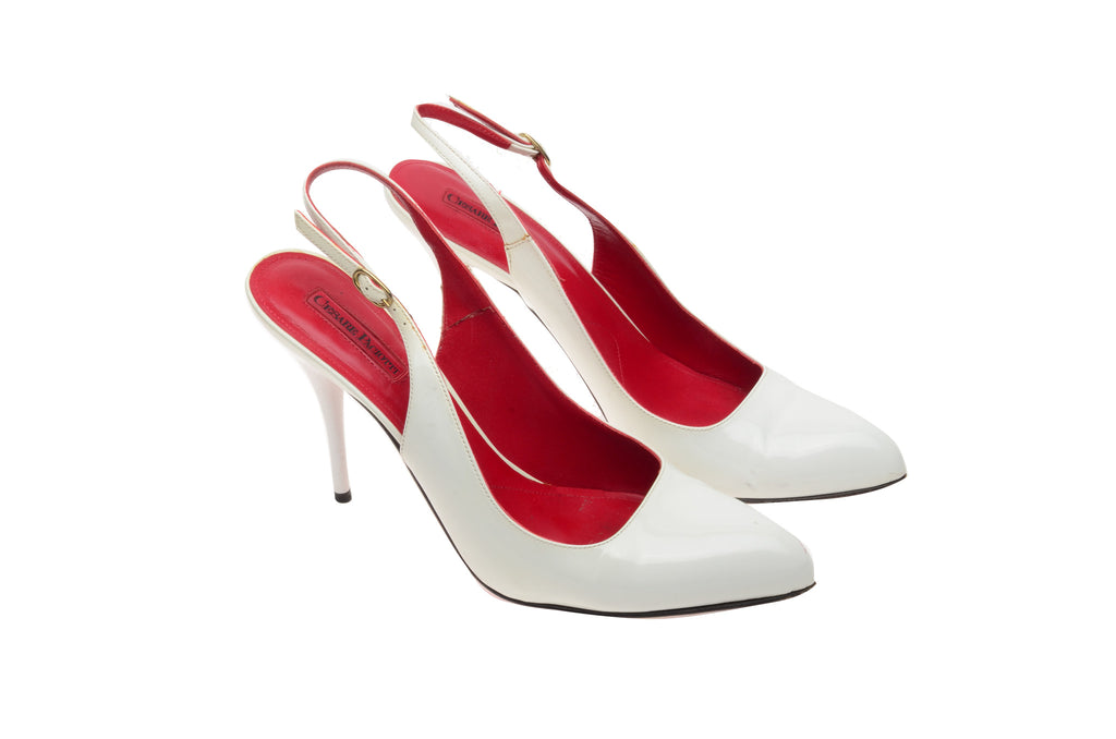 Cesare Paciotti - White Sling Back Heels - IT 38 1/2