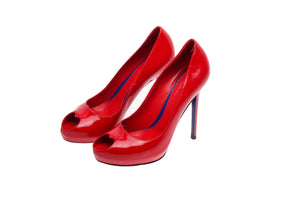 Original Alexander McQueen - Red Peep Toe Heels - IT 38 1/2
