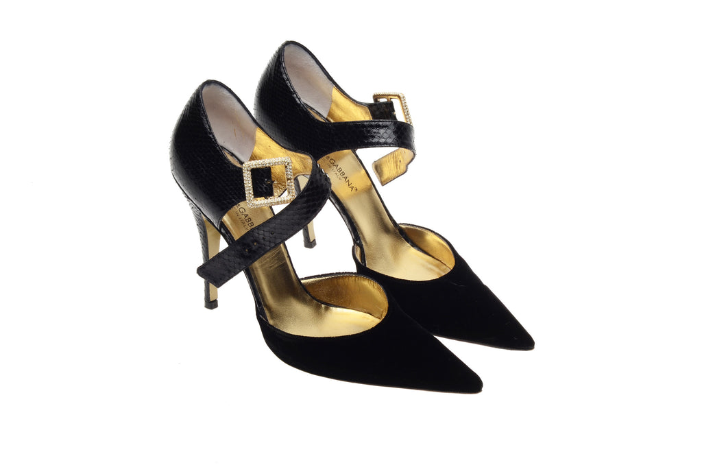 Dolce & Gabbana - Black Point Toe Heels with Ankle Strap - IT 38 1/2