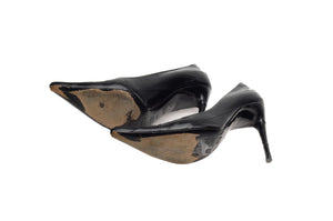 Dolce & Gabbana - Black Eel Skin Pointed Toe Heels - IT 38