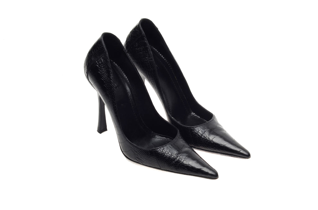 Iconic Tom Ford For Gucci - Editorial, Black Pointed Toe Ostrich High Heels - IT 38 1/2
