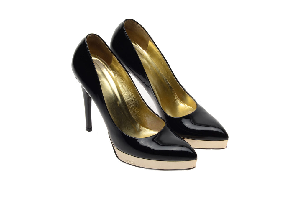 Iconic Tom Ford for Gucci - Black Patent Pointed Toe Platform Pumps - US 8