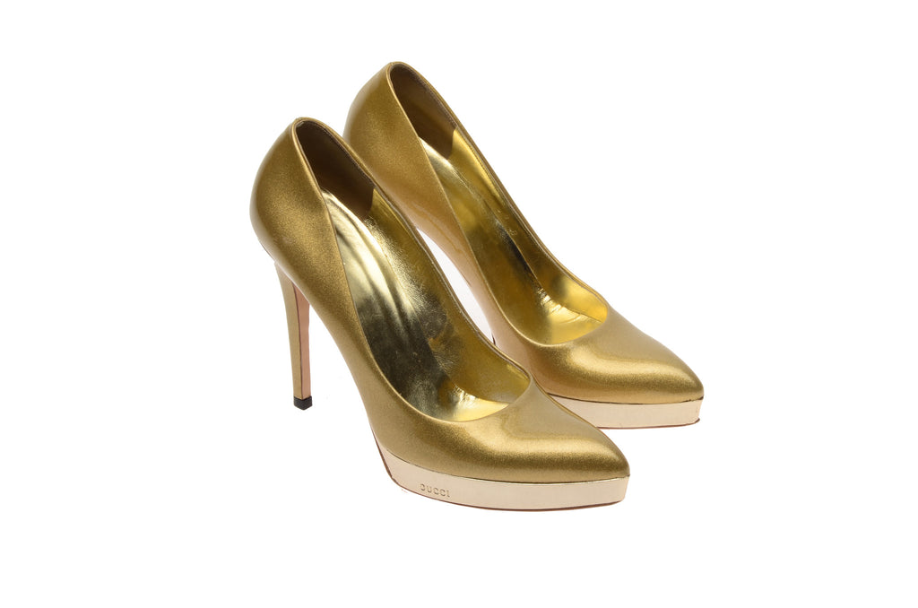 Iconic Tom Ford for Gucci - Gold Sparkly Pointed Toe Pumps - US 8